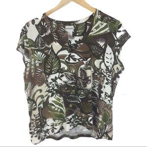 Tops - Chico's brown floral tee